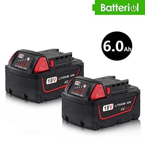 Batteriol 18V 6.0Ah Lithium-ion Battery Replacement for Milwaukee XC Redlithium Cordless Tools M18 48-11-1815 48-11-1820 48-11-1828 48-11-1850 Extended Capacity - 2Pack by Batteriol