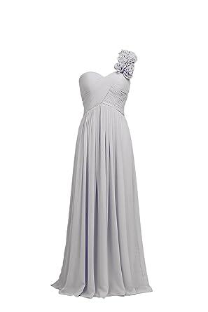 YiYaDawn Langes Brautjungfernkleid Cocktailkleid A-Linie Kleid für Damen  Größe 32 EU Hellgrau