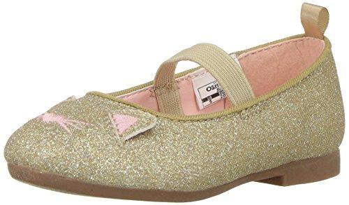 OshKosh B'Gosh Girls' Meow Glitter Cat Ballet Flat, Gold, 7 M US Toddler - Image 1