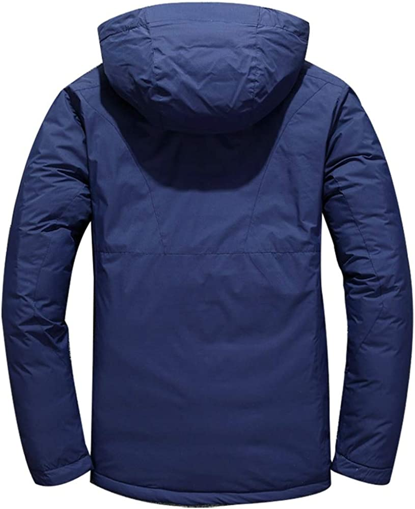 Loqono Winter Men Slim Hooded Casual White Duck Down Jacket Thick Down Jacket