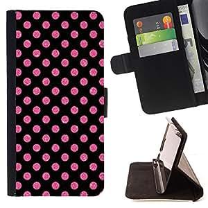 PINK PURPLE PATTERN POLKA DOT WALLPAPER/ Personalizada del estilo del dise???¡Ào de la PU Caso de encargo del cuero del tir????n del soporte d - Cao - For Samsung Galaxy S6