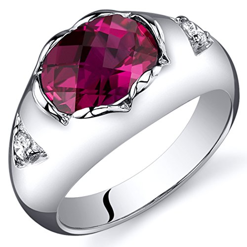 Created Ruby Ring Sterling Silver Rhodium Nickel Finish Checkerboard Cut 2.50 Carats Size 6