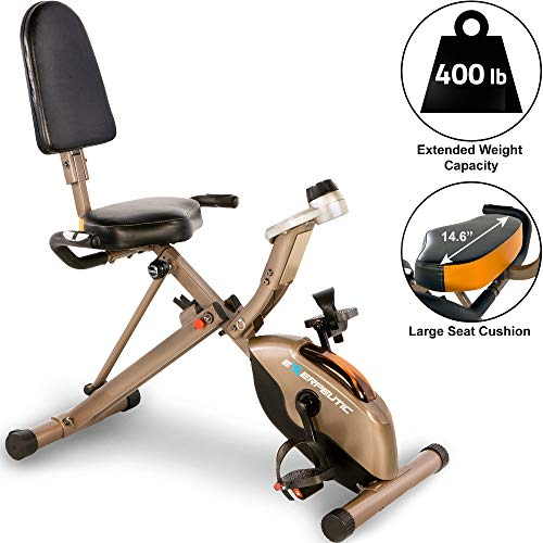 Exerpeutic Gold 525XLR Folding Recumbent Exercise Bike, 400 lbs