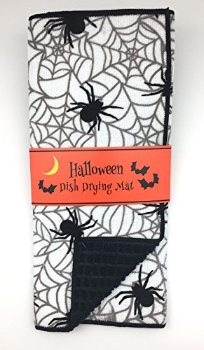 Decorative Halloween Black and White Spider and Web Reversible Dish Drying Mat for Kitchen Countertop, Holiday Design, 15