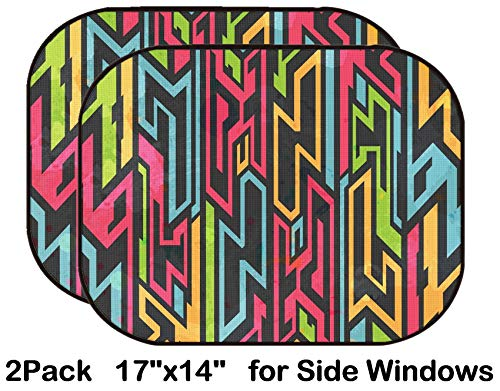 Liili Car Sun Shade for Side Rear Window Blocks UV Ray Sunlight Heat - Protect Baby and Pet - 2 Pack Image ID: 25988360 Colored Tribal Graffiti Seamless Pattern