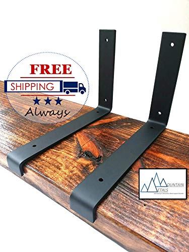 "(2 Pack) 9-1/4""x6"" Shelf bracket, Metal shelf bracket, Iron shelf bracket, Floating shelf, Shelving"