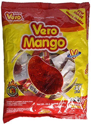 : Vero Mango, Chili Covered Mango Flavored Lollipops, 40 Pieces