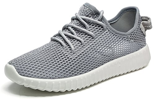 Jeneet Women's Lightweight Casual Knit Mesh Sneakers Athletic Breathable Sports Running Grey Shoes 8.5