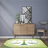 Printed floor mat Libra Sign on Background Balance Patient Air Symbol Green White Bath Mat Non Slip Absorbent 22''x60''
