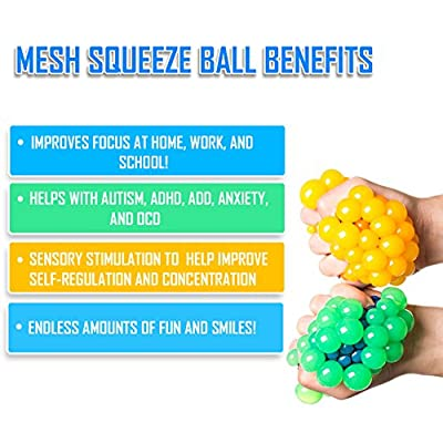 KELZ KIDZ Quality & Durable Mesh Squishy Balls with Exclusive Sewn Mesh! (4 Pack Gift Pack!): Toys & Games