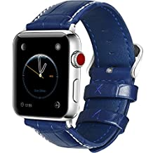 5 Colors Apple Watch Bands 42mm, Fullmosa Bosin Series Calf Leather Strap Replacement Band with Stainless Metal Clasp for Apple Watch Series 1 Series 2 Series 3,Dark Blue