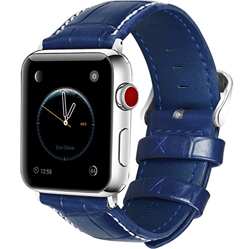 Stainless Steel Blue Leather (5 Colors for Apple Watch Bands 42mm, Fullmosa Calf Leather Replacement Band/Strap with Stainless Steel Clasp for Apple iWatch Series 1 2 3 Sport and Edition Versions 2015 2016 2017,Dark Blue)