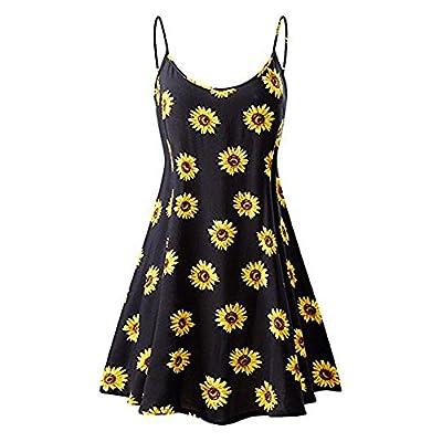 Women Summer Sundress, Vintage Sunflower Printed Low Chest Sleeveless Knee Length Strappy Beach Cami Mini Dress