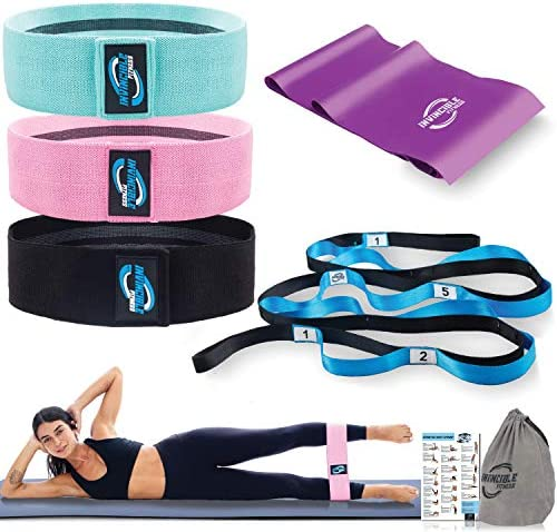 Invincible Fitness Women Yoga Bundle | 12 Loops Stretchable Strap, 3 Hip Booty Bands, Core Resistance Band | Perfect for Pilates, Exercise, Training, and Physical Therapy | Home Gym Workout Gear
