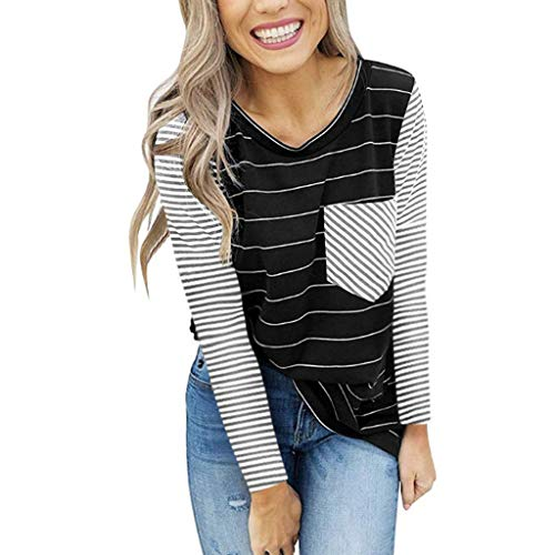 Spring Color  Women's Casual Striped Long Sleeve Tops V Neck Loose Fit Shirt Blouse with Front Pocket Black -