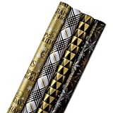 Hallmark Reversible Christmas Wrapping Paper Bundle, Black and Gold (Pack of 4, 150 sq. ft. TTL.)