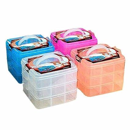 Amazoncom SENREAL Orange 3 Layers Plastic Storage Box Craft