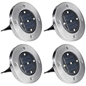 Anpro 4 Pack 5 LED Solar Ground Lights IP65 Waterproof Solar Garden Light Garden Pathway In-Ground Lights Outdoor for Lawn Yard Driveway Patio Walkway Pool Area (White)