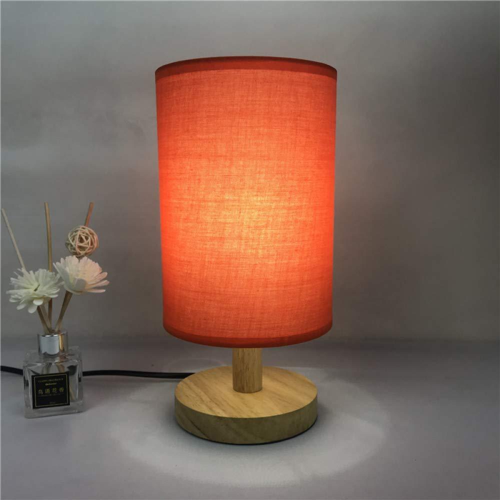 Lámpara de mesa decorativa tela de madera maciza led luz de noche ...