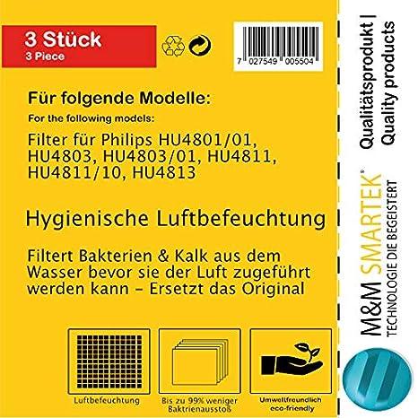 HU4801//01 HU4803 HU4813 HU4811//10 HU4803//01 HU4813//10 vhbw Filtro para humificador Philips HU4801 HU4811