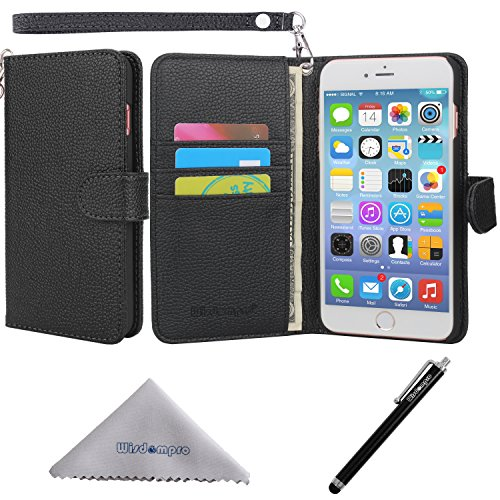 iPhone 7 Plus case, iPhone 8 Plus Case, Wisdompro PU Leather Protective [Folio Flip] Wallet Case with Multiple Card Slots for [5.5 Inch] Apple iPhone 7 Plus, 8 Plus -W/Wrist Lanyard (Black)