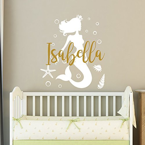 Mermaid Wall Decal Name Wall Sticker Vinyl Nursery Personalized Girl Name Decal Wall Decor Nursery Wall Decor Baby Girl Name Wall Decal F27 by NurseryDecalsStore