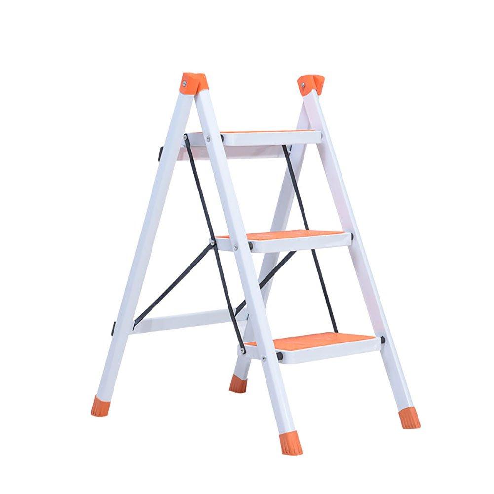 WSSF- 鉄の折りたたみヘリングボーンのはしご3ステップスツールハイペダルのはしごノンスリップキッチンのスツールホームガーデンツールDIY安全踏み台Foldable (色 : Orange) B07DQGH9GZ Orange Orange