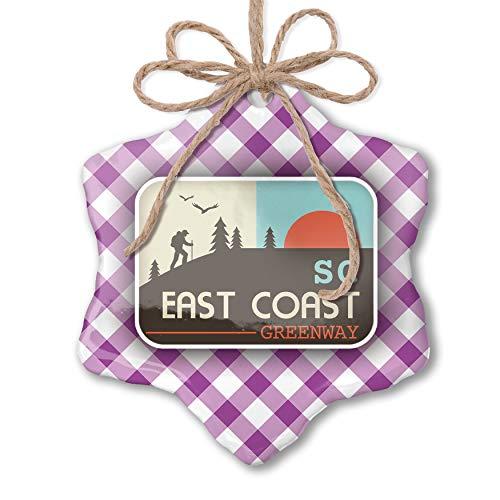 NEONBLOND Christmas Ornament US Hiking Trails East Coast Greenway - South Carolina Purple Plaid