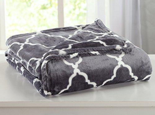 Home Fashion Designs Velvet Plush Soft Bed Blanket with Lattice Scroll Design (Full/Queen, Steel Grey)