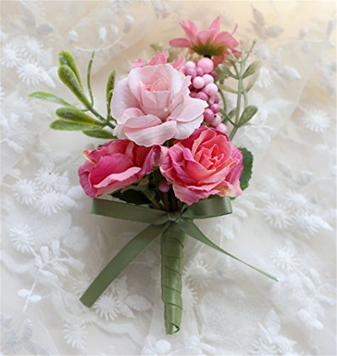 (MOJUN Groom Flowers Rose Boutonniere Corsage Brooch Wedding Rose Boutonniere, Pack of 2, Pink)