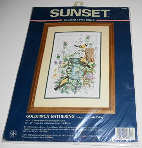 Sunset Counted Cross Stitch Kit-Goldfinch Gathering