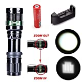 1Pc Imposing Modern 3Mode LED Flashlight 2000LM Effective Bright Zoomable Torch Blinding Effect Color Black with Battery Charger