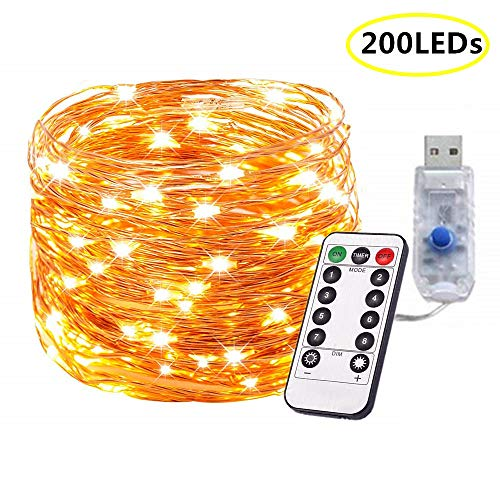 Plug in Fairy Lights 72FT 200 LEDs USB Powered String Fairy Lights 8 Modes Copper Wire Starry Twinkle Lights with Remote for Wedding Bedroom Party Garden Indoor Outdoor Decoration (Warm White)