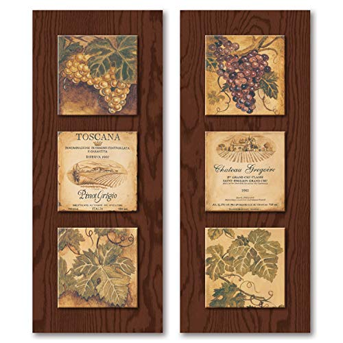 Wine Country Wine Label and Grape Panels;Two 8 x 20 Poster Prints (Printed on Paper, Made to Look Like Wood)