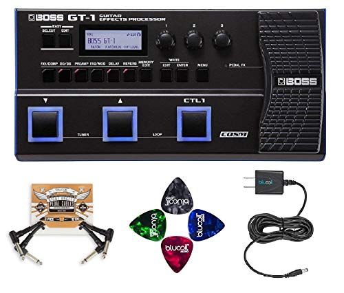 Boss Cables Guitar (BOSS GT-1 Guitar Multi-Effects Processor BUNDLED WITH BOSS Tone Studio, Blucoil 9V DC Power Supply, 2 Pack of Pedal Patch Cables AND 4-Pack of Celluloid Guitar Picks)