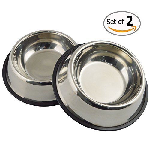 MLife Stainless Steel Dog Bowl with Rubber Base for Small/Medium/Large Dogs, Pets Feeder Bowl and Water Bowl Perfect Choice (set of 2) (Flat Bottom Stainless Steel Bowls)
