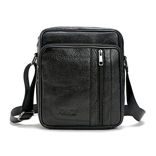 –Maletín de piel, hombre bolsa de hombro inclinado, solo bolso de hombro, ordenador bolsa de gran capacidad balck