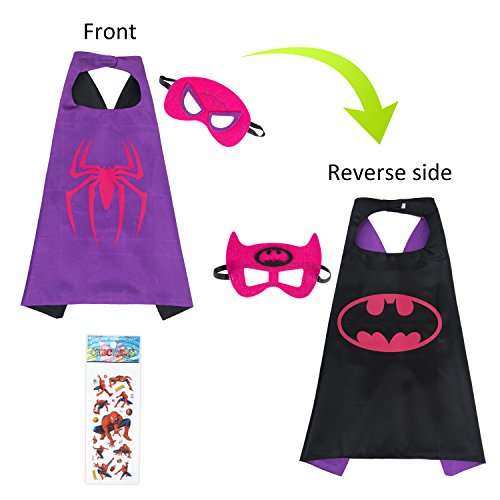 MIJOYEE Superhero Capes and Mask Costumes for Kids,Cartoon