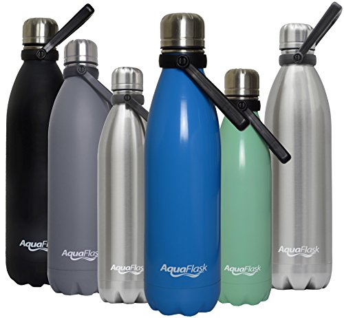 AquaFlask Insulated Double Wall Stainless Steel Water Bottle with Handle (Sky Blue, 16-Ounce)