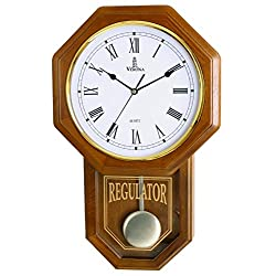 Verona Traditional Wood Pendulum Wall Clock with Glass Front - Elegant & decorative clock with light brown finish – 18 x 11.25 x 2.75 inch – Quartz movement, battery operated & non-chiming
