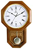 Best Pendulum Wall Clock, Silent Decorative Wood Clock with Swinging Pendulum, Battery Operated, Schoolhouse Regulator Light Wooden Design, For Living Room, Kitchen & Home Décor, 18'' x 11.25""