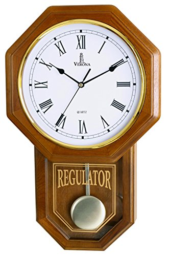 Pendulum Wall Clock, Silent Decorative Wood Clock with Swinging Pendulum, Battery Operated, Schoolhouse Regulator Light Wooden Design, for Living Room, Kitchen & Home Décor, 18