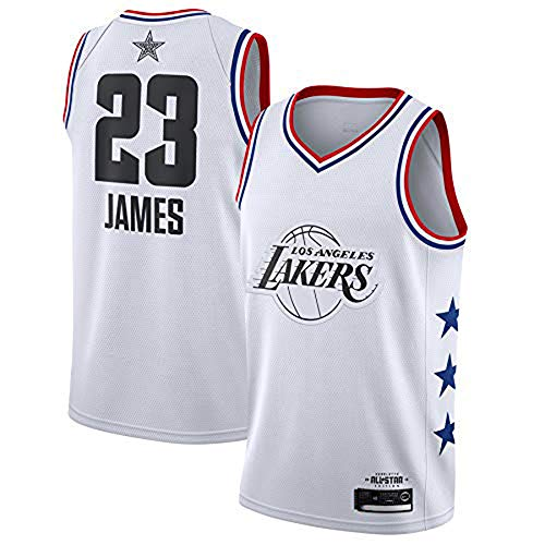 (YDD Men's Basketball Clothes - Summer Basketball T-Shirt NBA Lakers James #23 Fan Edition Jersey Classic Embroidered Sleeveless Top Stitched Letters and Numbers,White,S(50~65kg))