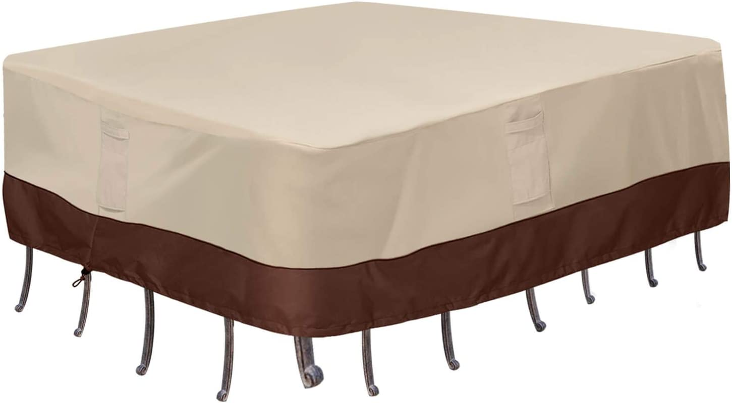 Vailge Waterproof Patio Furniture Set Cover, Lawn Patio Furniture Cover with Padded Handles, Patio/Outdoor Table Cover, Patio/Outdoor Dining Square Table Chairs Cover(Large,Beige & Brown)