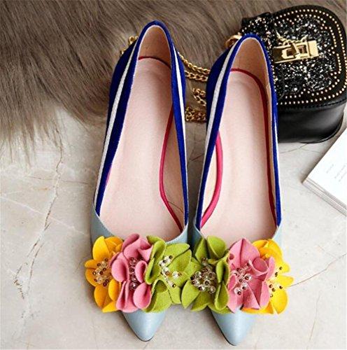 Damenschuhe Echtleder Elegant Spitze Blumen Sandalen Zauberfarbe Pumpengröße 35 bis 38 5cm Heel