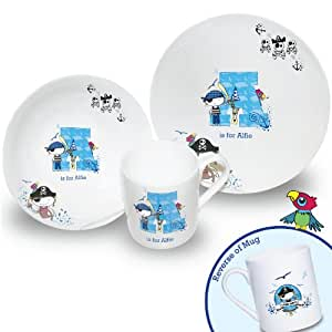 Pirate Letter Breakfast Set. This is a great product that can be personalised to your requirements ( please see main discription for full details ) Ideal gifts and presents for weddings, Christenings, Birthdays, Christmas etc…