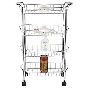 Better Chef SR-4 4-Tier Rolling Storage Cart Silver Home & Garden