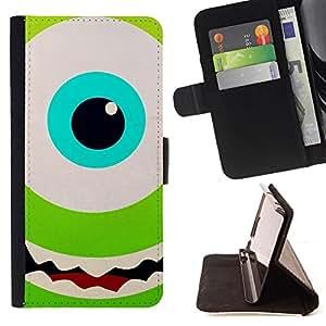EYE HAPPY KIDS MONSTER GREEN CARTOON/ Personalizada del estilo del dise???¡Ào de la PU Caso de encargo del cuero del tir????n del soporte d - Cao - For Samsung Galaxy S4 IV I9500
