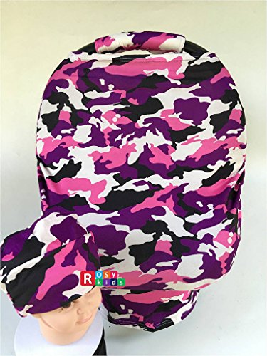Rosy Kids Stretchy Infant Car Seat Canopy Cover, Elastic Nursing Scarf Privacy Cover with Matching Car Seat Handle Cover and Baby Hat, Baby Car Seat Outdoor Kit, Purple Pink Black Camouflage