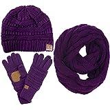 ScarvesMe CC 3pc Set Trendy Warm Chunky Soft Stretch Cable Knit Beanie Scarves Gloves Set (Purple)